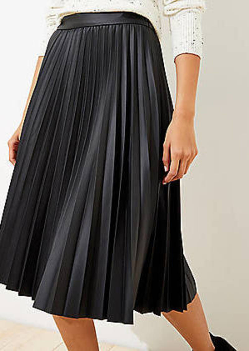 LOFT Petite Pleated Faux Leather Midi Skirt