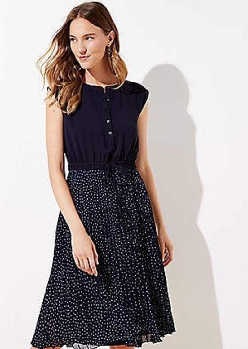 LOFT Petite Pleated Henley Dress