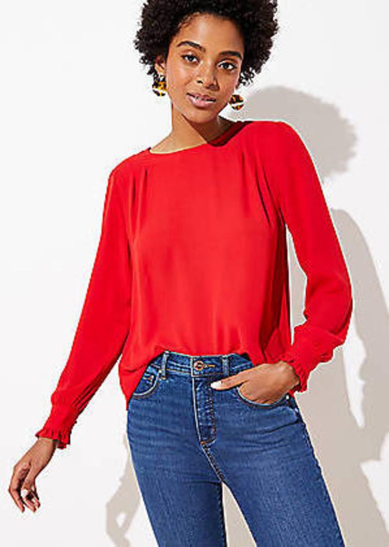 LOFT Petite Pleated Shoulder Blouse