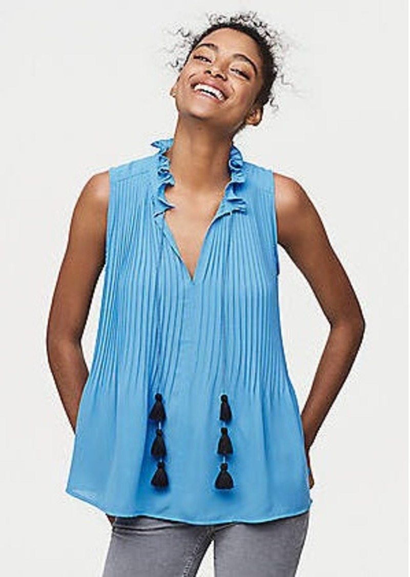 LOFT Petite Pleated Tassel Tie Neck Shell