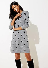 LOFT Petite Polka Dot Puff Sleeve Sweater Dress
