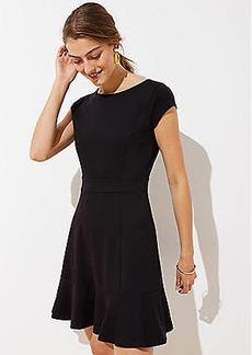 LOFT Petite Ponte Flounce Flare Dress