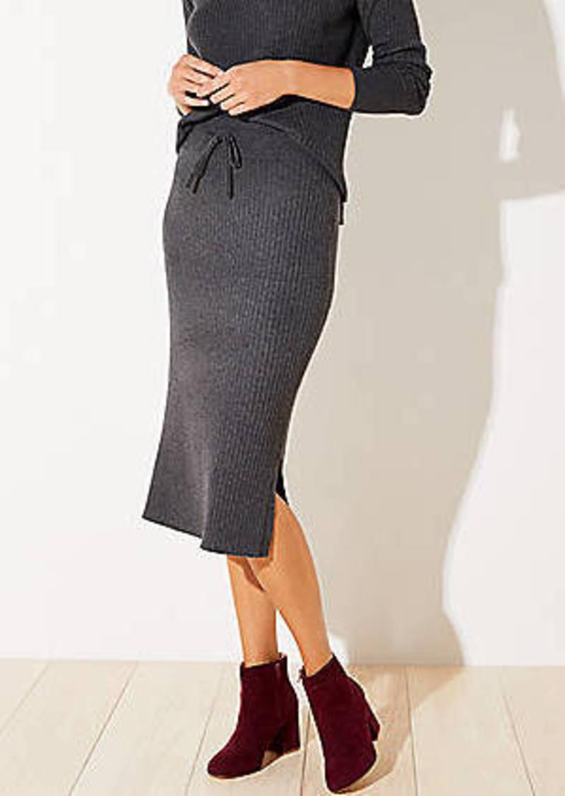 LOFT Petite Ribbed Drawstring Midi Sweater Skirt