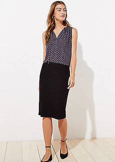 LOFT Petite Ribbed Pull On Pencil Skirt