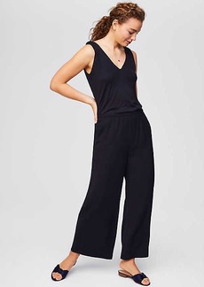 LOFT Petite Ruffle Back Mixed Media Jumpsuit