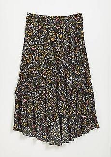 LOFT Petite Ruffle Pull On Midi Skirt