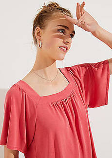 LOFT Petite Sandwashed Square Neck Tee