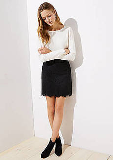 LOFT Petite Scalloped Lace Skirt