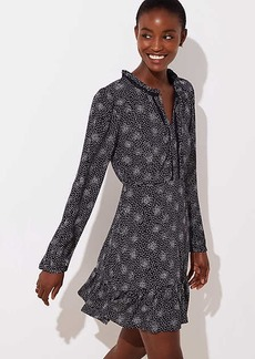LOFT Petite Scattered Dot Split Neck Dress