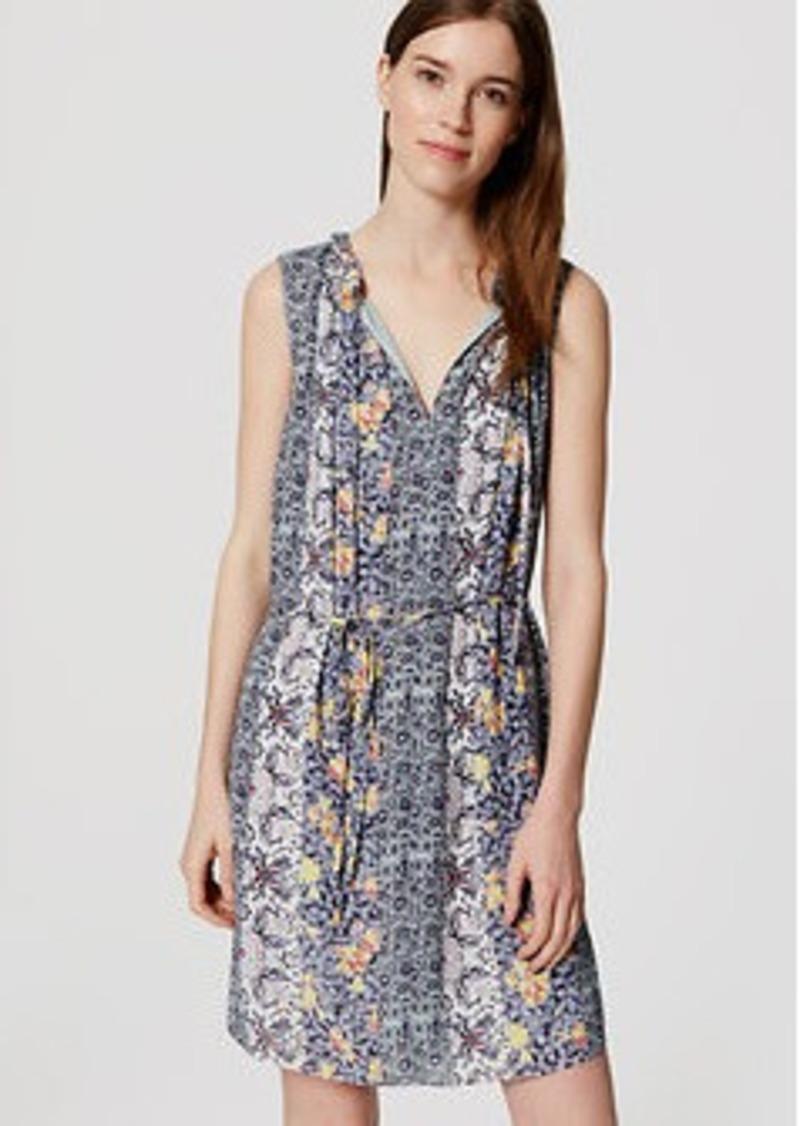 LOFT Petite Scroll Floral Tie Neck Dress