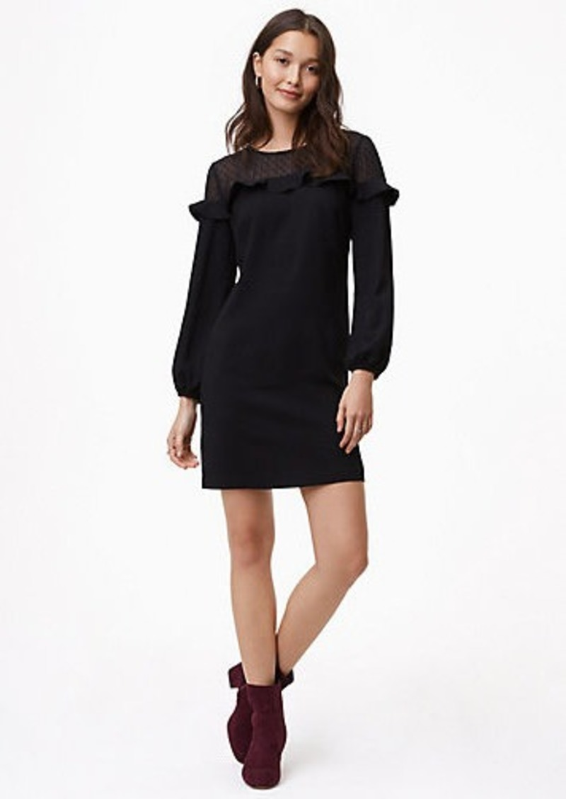 b77435d505 LOFT Petite Sheer Dot Yoke Shift Dress Now  49.88