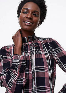 LOFT Petite Shimmer Plaid Smocked Tie Neck Blouse