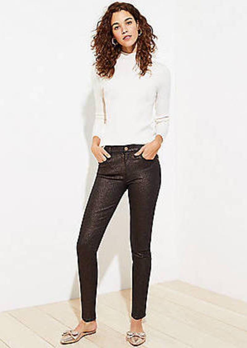 LOFT Petite Shimmer Slim Pocket Skinny Jeans in Black