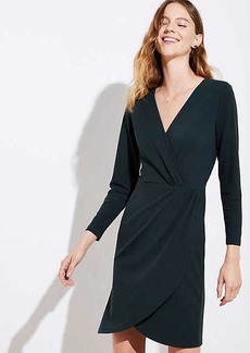 LOFT Petite Shirred Wrap Dress