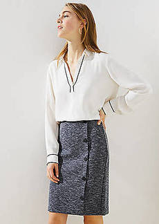 LOFT Petite Side Button Pull On Pencil Skirt