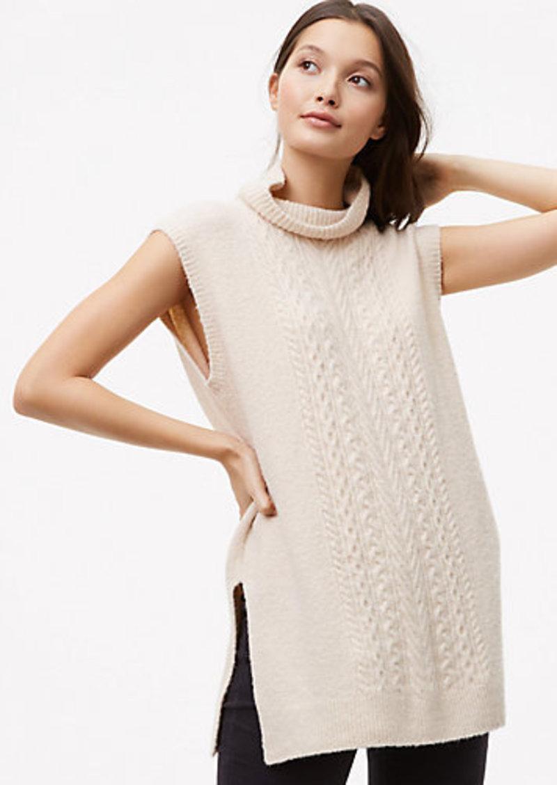 4b6e9eb220 On Sale today! LOFT Petite Sleeveless Cable Tunic Sweater