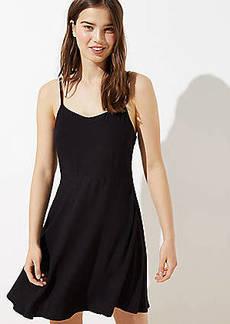 LOFT Petite Smocked Back Sleeveless Flare Dress