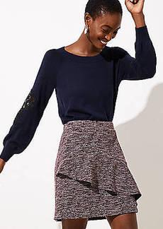 LOFT Petite Spacedye Ruffle Skirt
