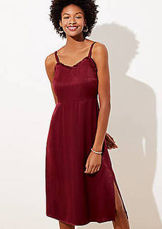 LOFT Petite Strappy Satin Midi Dress