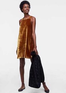 LOFT Petite Strappy Velvet Swing Dress