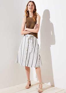 LOFT Petite Striped Button Down A-Line Skirt