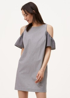 Petite Striped Cold Shoulder Shift Dress
