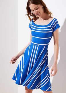 LOFT Petite Striped Crossover Back Flare Dress