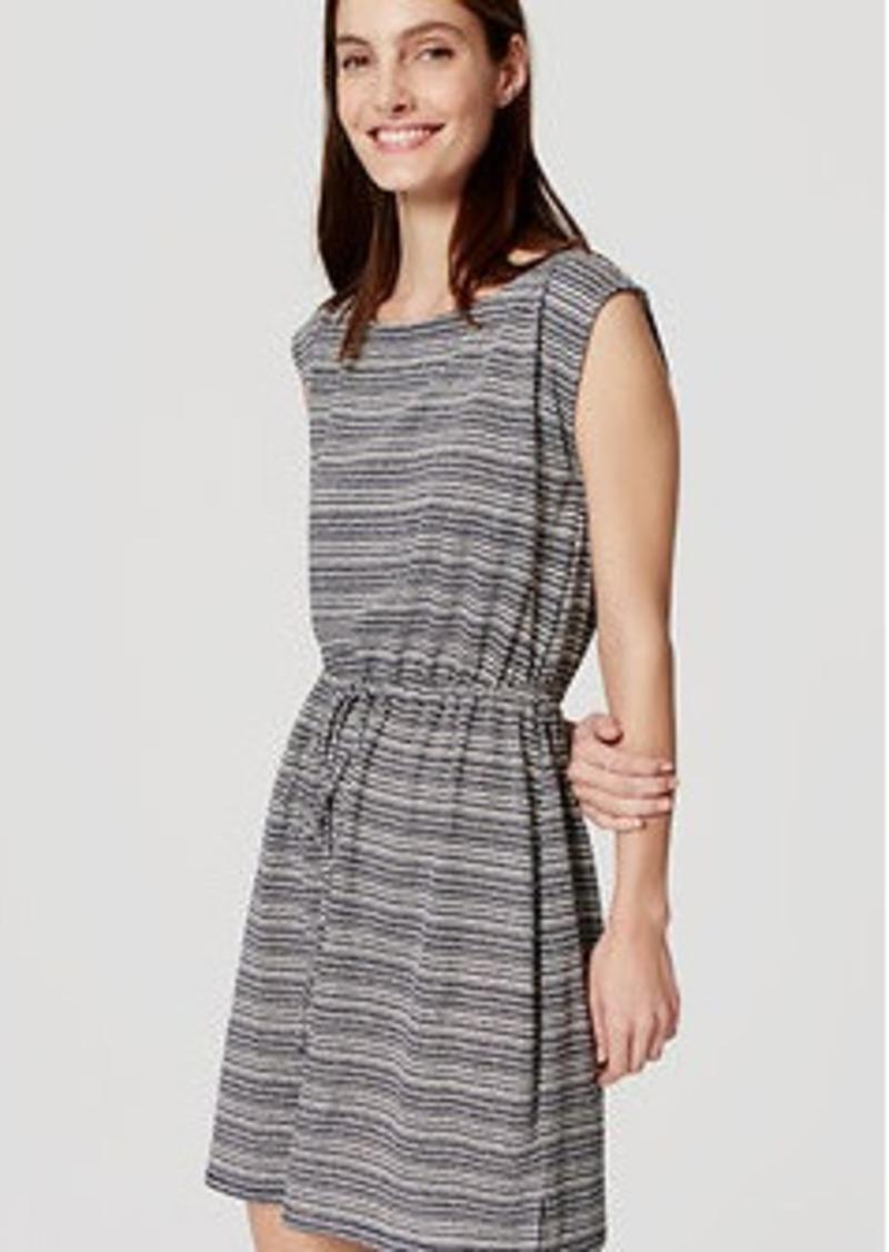 LOFT Petite Striped Drawstring Dress