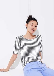 LOFT Petite Striped Elbow Sleeve Tee