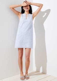 LOFT Petite Striped Eyelet Shift Dress