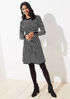 LOFT Petite Striped Flare Sweater Dress