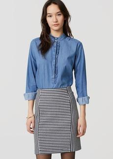 LOFT Petite Striped Knit Pull On Pencil Skirt