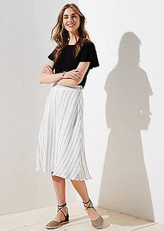 LOFT Petite Striped Midi Skirt