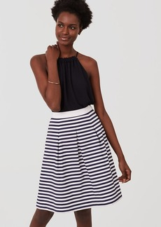 Petite Striped Pleated Skirt