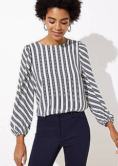 LOFT Petite Striped Puff Sleeve Blouse