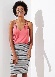 LOFT Petite Striped Pull On Pencil Skirt