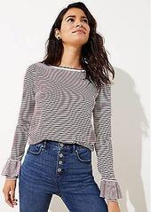 LOFT Petite Striped Luxe Knit Ruffle Cuff Sweater