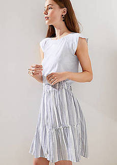 LOFT Petite Striped Ruffle Full Skirt