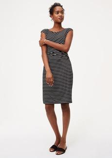Petite Striped Side Shirred Dress