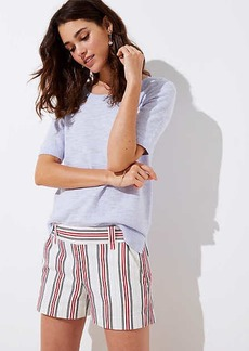 LOFT Petite Striped Side Zip Shorts
