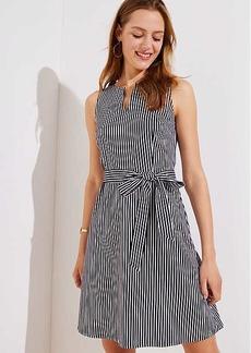 LOFT Petite Striped Split Neck Tie Waist Dress