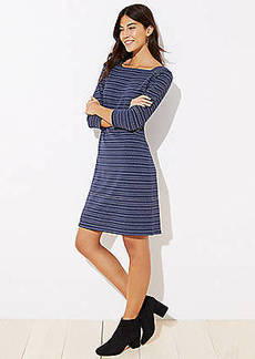 LOFT Petite Striped Square Neck Dress
