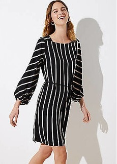 LOFT Petite Striped Square Neck Tie Waist Dress