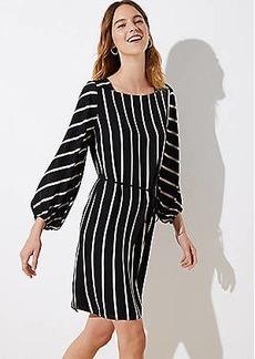LOFT Petite Striped Square Neck Tie Waist Dress