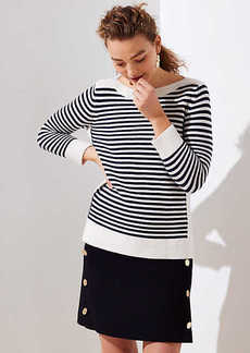 LOFT Petite Striped Stitchy Boatneck Sweater