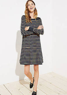 LOFT Petite Striped Swing Sweater Dress