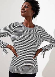 LOFT Petite Striped Tie Cuff Sweater