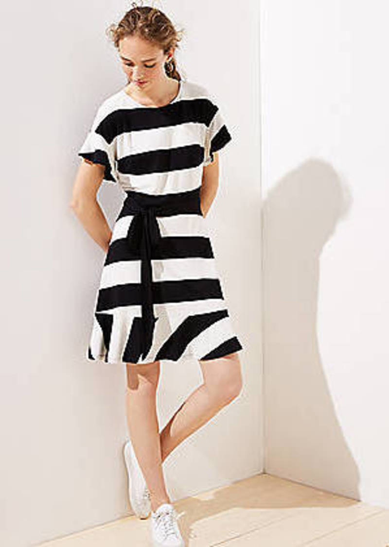 LOFT Petite Striped Tie Waist Flounce Dress