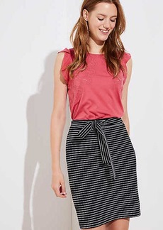 LOFT Petite Striped Tie Waist Pencil Skirt