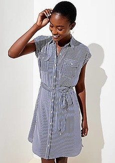 LOFT Petite Striped Tie Waist Shirtdress
